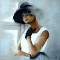 La Dame à sa fenêtre - 60 x 60 cm